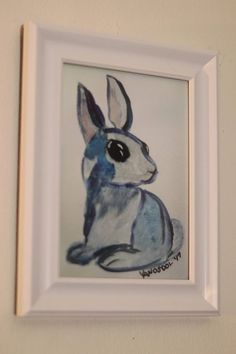 Little Blue Bunny Watercolor Painting ART PRINT By Scott D Van