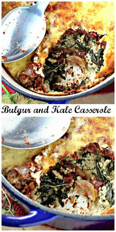 bulgur and kale casserole with yogurt topping