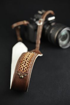 Leather Camera Strap Padded Camera Strap  by EthosCustomBrands