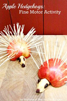 Apple Hedgehogs: A healthy and fun snack kids can make to help develop fine motor skills. Perfect for a fall or apple theme in your preschool classroom! Fun Facts About Healthy Snacks Preschool Apple Theme, Apple Activities, Kids Learning Activities, Motor Activities, Autumn Activities, Toddler Activities, Preschool Activities, Preschool Classroom, Classroom Snacks