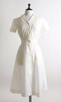 I used to wear a nurses dress like this when I was a nurses aide. Mine was a cotton fabric though. Nurse Halloween Costume, Nurse Costume, Rain Bonnet, Vintage Nurse, Nursing Dress, Sheer Dress, Fashion Dresses, Short Sleeve Dresses, Nurses