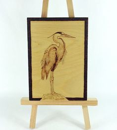 Heron  Wood Pyrography  Wall Art  Bkinspired by bkinspired on Etsy