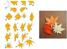 kokoro-takeda: Maple Leaf Origami (Taken from:. - A Year of OrigamiManual DIY style is simple and beautiful Maple Leaf Origamimaple origami activity for kids?Collection of origami folded by myself and fellow origamists Model name and original artist Instruções Origami, Design Origami, Origami And Kirigami, Paper Crafts Origami, Origami Folding, Origami Stars, Paper Crafting, Oragami, Paper Folding