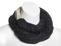 Twisted Infinity Scarf - Charcoal