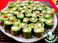 Шпинатные блинчики с лососем Cucumber, Sushi, Food And Drink, Vegetables, Ethnic Recipes, Vegetable Recipes, Zucchini, Veggies, Sushi Rolls