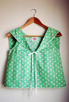 YeYe / mint green / hand made / Eiffel tour and polka dots / cropped sailor blouse / over size collar. $65.00, via Etsy.