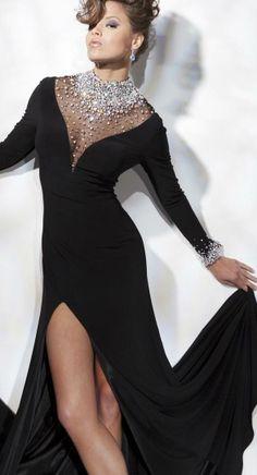 a6e2c889b Tony Bowls Black Long Sleeve High Neck Crystal Beaded Chiffon Watteau Spilt  formal Gowns Evening Dresses