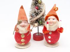 Two Vintage 1950's Christmas Ornaments, Musical Santas Elves by exploremag on Etsy https://www.etsy.com/listing/259741464/two-vintage-1950s-christmas-ornaments