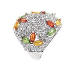 Inel realizat din argint placat cu aur alb de 14 karate, frumos ornamentat cu pietre de safir multicolore, fațetate și zirconia, piatră de sinteză.  Cod produs: CI7793 Greutate: 7.89 gr. Lățime: 2.50 cm Circumferință inel: 54 mm Aur, Lapis Lazuli, Karate, Topaz, Coin Purse, Wallet, Rings, Diamond, Bead