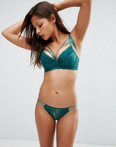 Wolf & Whistle Deep Green Lace Lingerie Set