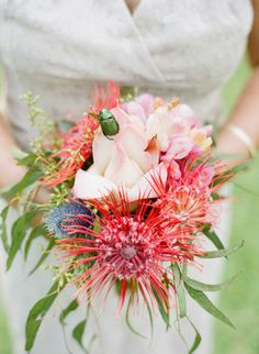 exotic #wedding #bouquet {Austin Gro} tropical looking flowers .. perfect for an outdoor wedding