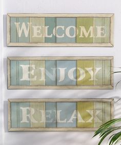 Take a look at this 'Welcome' 'Enjoy' & 'Relax' Wall Art Set by Giftcraft on #zulily today!