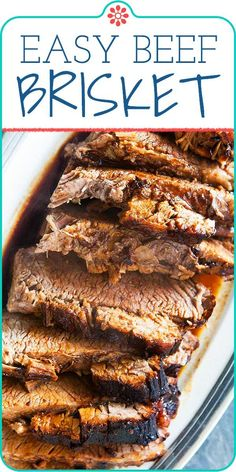 Here's how to cook beef brisket in oven slathered in a mixture of BBQ sauce and soy sauce. Just wrap in foil and bake until falling apart tender. This beef brisket is simple and delicious. Easy Brisket Recipe, Beef Brisket Recipes, Smoked Beef Brisket, Brisket Meat, Brisket Rub, Braised Brisket, Pork Meat, How To Cook Brisket, How To Cook Beef