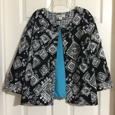 My Coldwater Creek Black White Geometric Print Jacket  by Coldwater Creek! Size 16 / XL for $$40.00. Check it out: http://www.vinted.com/womens-clothing/other-coats-and-jackets/21374136-coldwater-creek-black-white-geometric-print-jacket.