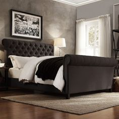 HomeVance Vanderbilt Tufted Sleigh Bed ($1,196) ❤ liked on Polyvore featuring home, furniture, beds, grey, colored furniture, grey furniture, grey bed, tufted queen bed and gray bed