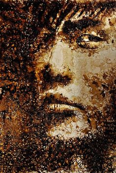 Hong Yi  - Coffee Stains.  Hong Yi's painting is meant to look like a sepia-toned old photograph to capture the essence of a Jay Chou's song titled 'Secret' which moved her.     According to Hong Yi, the portrait is inspired by the song's opening sentence, about lifting up a coffee cup off the saucer, and the ending of the song about autumn leaves and fragmented pieces.