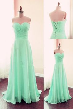 Simple Sweetheart Long Chiffon Mint Green Lace-up Prom Dresses, Mint Bridesmaid Dresses, Evening Gowns