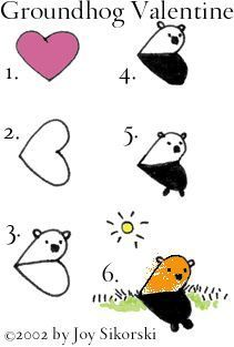 Cute! How to draw a groundhog with a heart.  Art idea for kids.