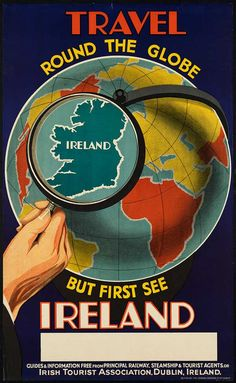 Travel Round the Globe, First See Ireland - Vintage Travel Poster (Free Vintage Posters, Vintage Travel Posters, Art Prints, Printables) Vintage Travel Posters, Vintage Ads, See World, Boston Public Library, Poster S, Print Poster, Poster Wall, Art Print, Ireland Travel