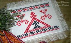 Купить Вышивка-оберег Макошь - ярко-красный, макошь, оберег, обереговая символика, славянский оберег