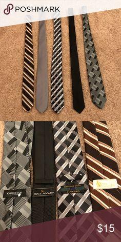 Gray, Black, and Brown Tie Bundle Multiple brands. Gray tie has no brand tag on it. Smoke-free home. Brown Tie, Grey Tie, Black And Brown, Gray, Leis, Smoke Free, Man Shop, Clothing, Fashion Design