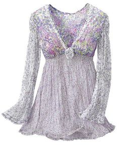 Lavender Fantasy Top with empire waist, flowing below the empire waistline, and long trumpet shaped sleeves