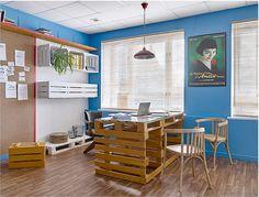Escritório tem linda decoração com reciclagem. Blog Achados de Decoração