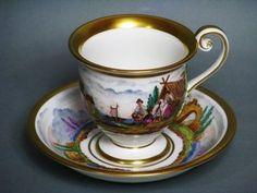 Fürstenberg Antique Cup and Saucer Dated C 1826 RARE