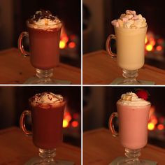 Hot Chocolate 4 Ways Jojo would probably like that third one<<<<<<<< I wouldn't eat the second one but the rest look delicious Yummy Drinks, Delicious Desserts, Dessert Recipes, Yummy Food, Hot Chocolate Recipes, Chocolate Videos, Chocolate Diy, Vegan Chocolate, I Love Food
