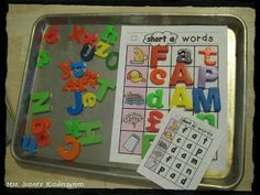 Building CVC Words with magnets.... Great independent center-- the kids can check their own work! $