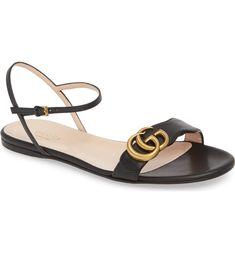 e27045e83614 Free shipping and returns on Gucci Marmont Quarter Strap Flat Sandal  (Women) at Nordstrom