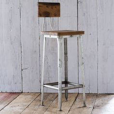 Industrial Style Wood & Iron Bar Stool | The Other Duckling