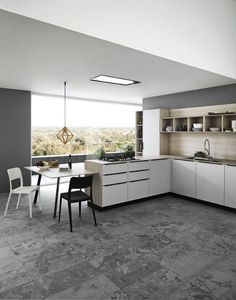 Fitted kitchen with handles ARIEL - COMPOSITION 1 - Cesar Arredamenti