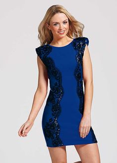 Sequined Lace Panel Bodycon Dress by Little Mistress