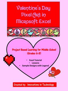 Need a fun way to introduce Microsoft Excel to middle school students? This great lesson incorporates Valentine's Day themed art as students learn the basics of Microsoft Excel. First, they'll create a quick pixel art from a given example and then they'll create their own! These are also fun lessons to use if you just need something for a one day lesson or to leave with a sub.