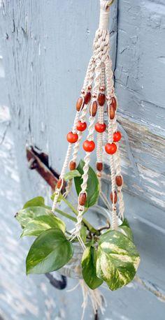 Sweet Petite Natural Hemp Handmade Macrame Plant Hanger- Hanging Planter