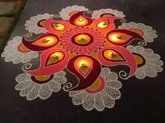 Beautiful rangoli  And you could totally incorporate this into your hen (Jen) do!   The glow looks good. We can use that effect with a different form.