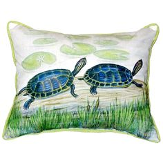 Two Turtles Extra Large Zippered Indoor or Outdoor Pillow 20x24 Extra large indoor/outdoor pillows with a zippered cover and a removable polyfill insert. Square pillows measure 22x22 and rectangular pillows measure 20x24.