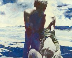 Balcomb Greene (American, 1904-1990), Naked Swimmer Ashore, 1982. Oil on canvas, 40 x 50 in.