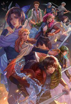 Demon Slayer The 9 Pillars by jiuge on DeviantArt Anime Demon, Manga Anime, Anime Art, Real Anime, I Love Anime, Era Taisho, Desenhos Cartoon Network, Arte Sketchbook, Character Wallpaper