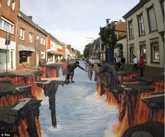 sidewalk art pavement art by edgar mueller street art exiting 3d Street Art, 3d Street Painting, Amazing Street Art, Street Art Graffiti, Street Artists, Amazing Art, 3d Painting, Graffiti Artists, Floor Painting