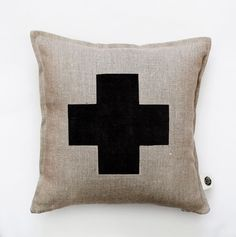 Black cross pillow cover - grey linen - decorative covers - throw pillows…
