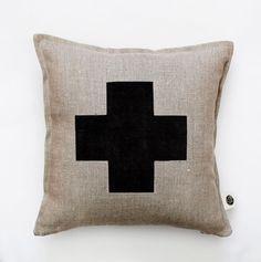 Black cross pillow cover - grey linen - decorative covers - throw pillows…