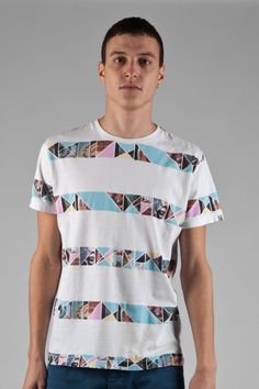 Fly53 Idiopath Graphic Striped Print White T-Shirt