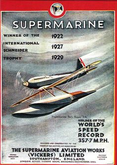 """""""Supermarine"""", Schneider Trophy Advertisement. From a poster in the National Railway Museum collection"""