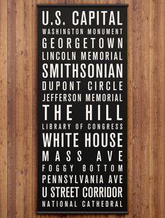 WASHINGTON DC Canvas Bus Scroll / Destination List