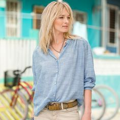 """PEARLS OF WISDOM SHIRT--A line of pearlized buttons are the focus of this relaxed-fit, artist-style shirt with subtly thin stripes, pleated back and banded collar. Cotton. Hand wash. Imported. Sizes XS (2), S (4 to 6), M (8 to 10), L (12 to 14), XL (16). Approx. 27""""L. // haircut too"""