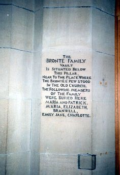 Engraving on pillar inside church where Charlotte, Emily and Branwell Bronte are buried along with other family members.