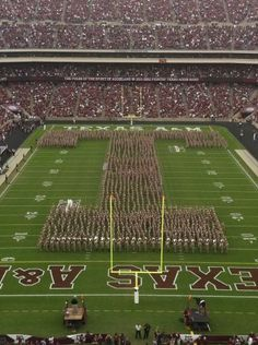 Texas A University, College Station, Texas.  Football Stadium ~ Block T with the ENTIRE Corps of Cadets... Gig 'Em Aggies!