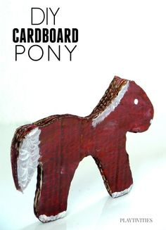The idea to make Cardboard pony came when my son forgot his all-time favorite horse toy at his grandma's. It was a toy he played with a lot. I took a chance and made one from cardboard Toddler Play, Toddler Crafts, Kids Crafts, Cardboard Crafts, Cardboard Playhouse, Cardboard Furniture, Playhouse Furniture, Writing Prompts For Kids, Kids Writing